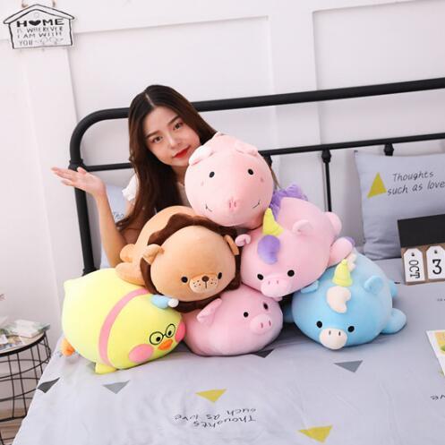 Licorne peluche oreiller couverture double usage deux-en-un oreiller Animal cochon lion poney licorne animaux jouets cadeaux d'anniversaire
