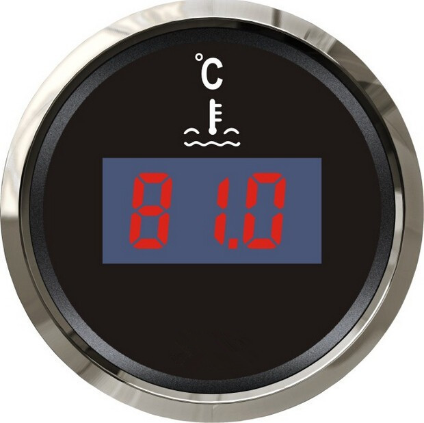 100% Brand New Digital Water Thermometer Water Temperature Gauge 12V/24V For Boat Automobile With Sensor Black