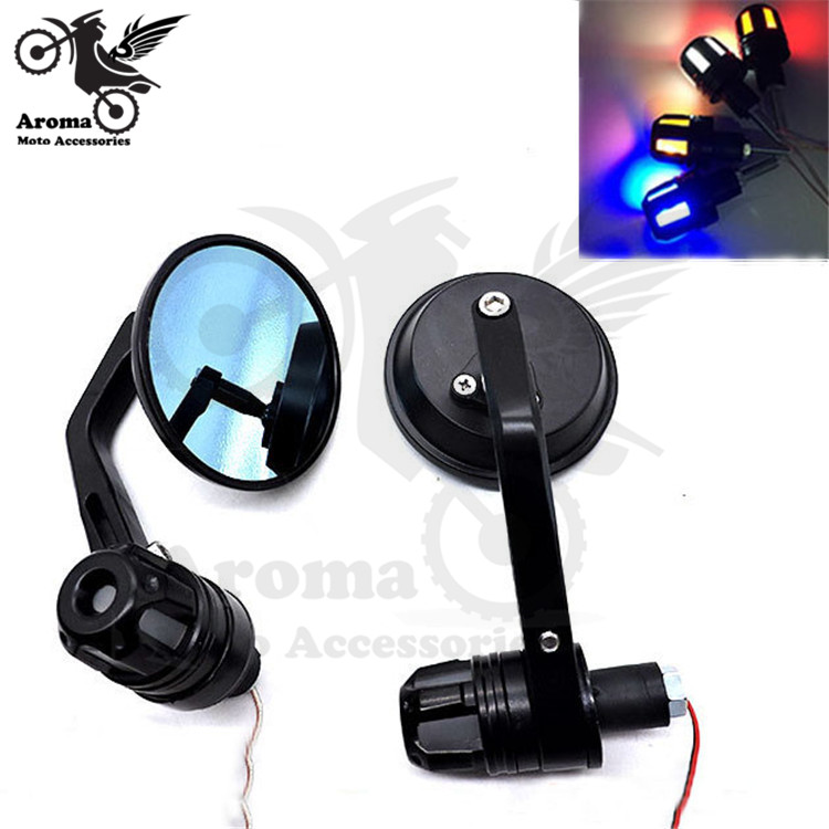 round scooter parts motorcycle mirror handlebar end motorbike side mirror with LED for honda yamaha suzuki bar end decal moto