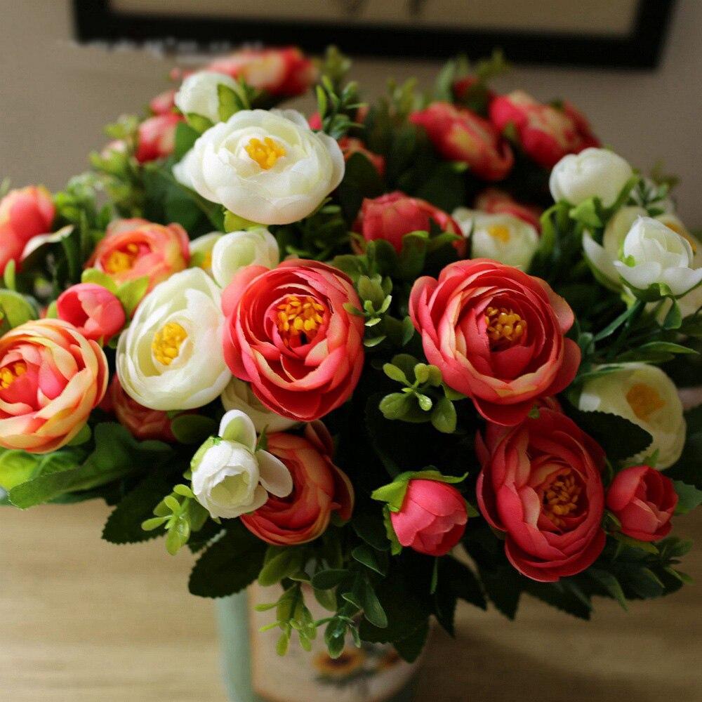 1bouquet European Artificial Flower Spring Camellia Peony Rose Silk