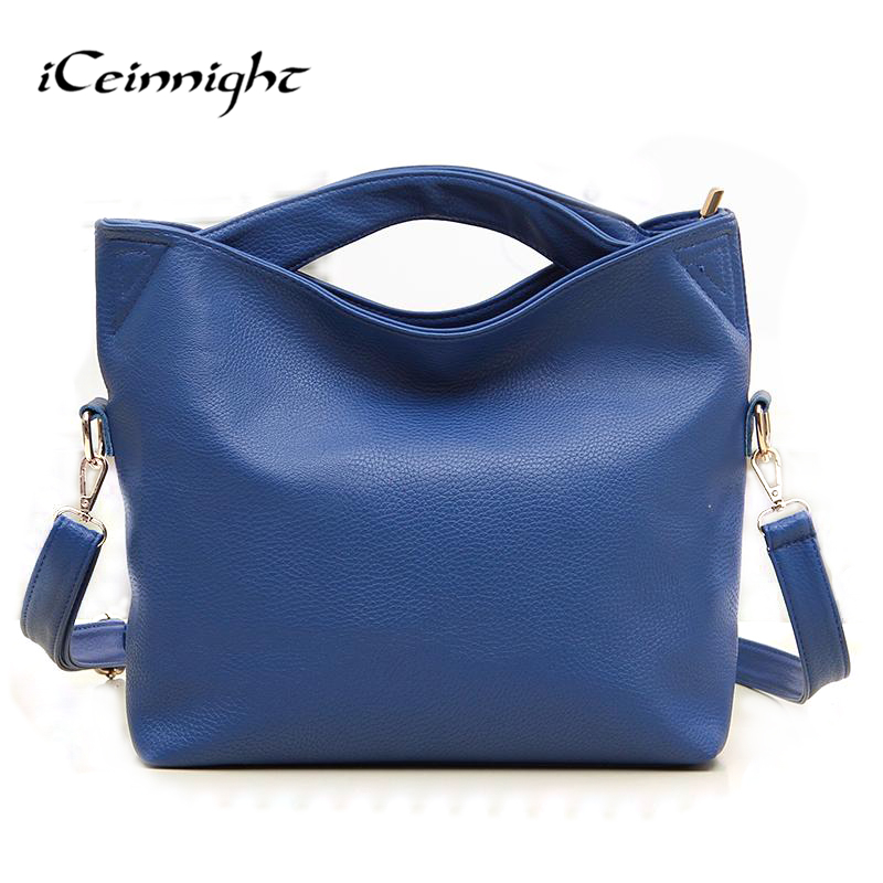 iCeinnight famous brand ladies luxury women leather handbags messenger bags long strap solid blue orange hang
