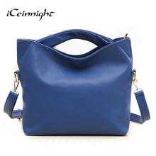 Iceinnight famosos señoras de la marca de lujo de las mujeres bolsos de cuero messenger bags correa larga solid blue orange colgar del hombro de la vendimia