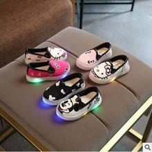 Com a Luz de Couro Crianças Sapatos Casuais Masculino Feminino LED Única Luz Tênis Respirável Calçados Esportivos Crianças Botas de Inverno Do Bebê