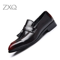 Fashion Tassel Men Leather Moccasins Italian Design Formal Brogues Slip On Pointed Toe Loafers Shoes For Men Flats