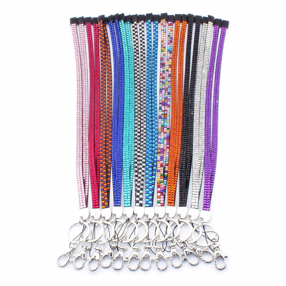 fashion bling crystal rhinestones leather neck strap lanyard for id badge keys with breakaway. Black Bedroom Furniture Sets. Home Design Ideas