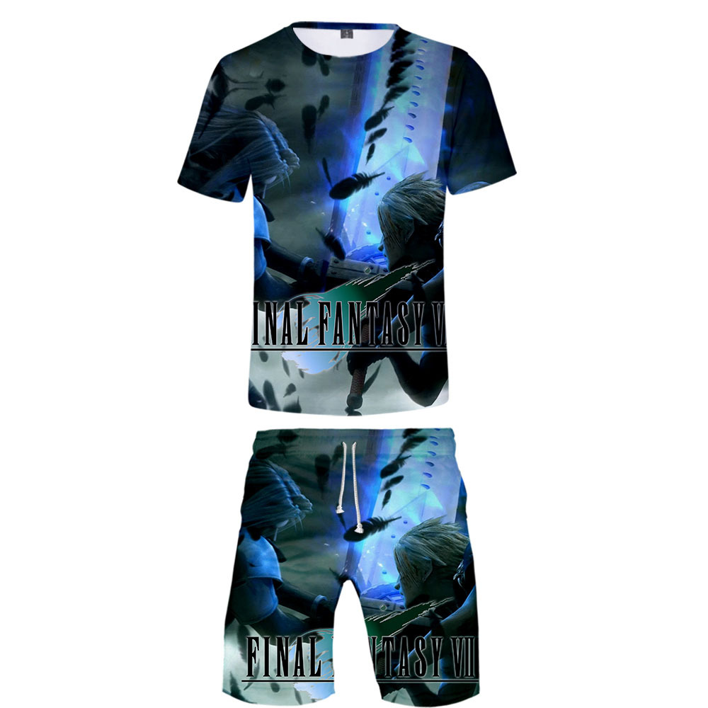 Game Final Fantasy VII 3D Print T-shirt Summer Men Causal Beach Suits Short Sleeve Shorts 2PCS Suit+Pants Fashion Sportsuits(China)