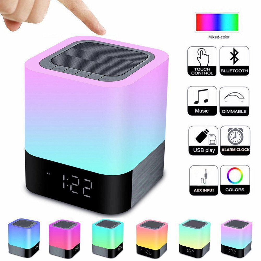 8 in 1 Bluetooth Speaker Night Light Bedside Ambience Lights with Alarm Clock Rechargeable Touch Control Color LED Novelty Lamp yimia creative 4 colors remote control led night lights hourglass night light wall lamp chandelier lights children baby s gifts
