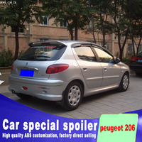 2006 2007 2008 2009 2010 2011 2012 2013 for peugeot 206 spoiler hatchback car rear wing ABS material spoiler by primer paint