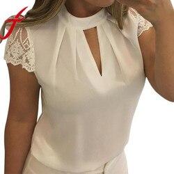 Blusas sexis de verano Casual Hollow Chiffon manga corta empalme encaje Tops blusa blusas mujer de moda talla grande 3XL
