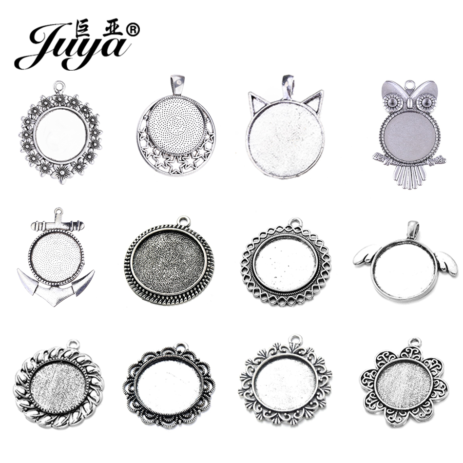 20Pcs 12MM Round Hollowed Out Zinc Alloy Cameo Cabochon Pendant Tray Blank Bases