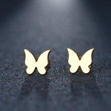 Женские и мужские сережки-гвоздики CACANA из нержавеющей стали с маленькими летящими бабочками золотистого и серебристого цвета, ювелирные из...
