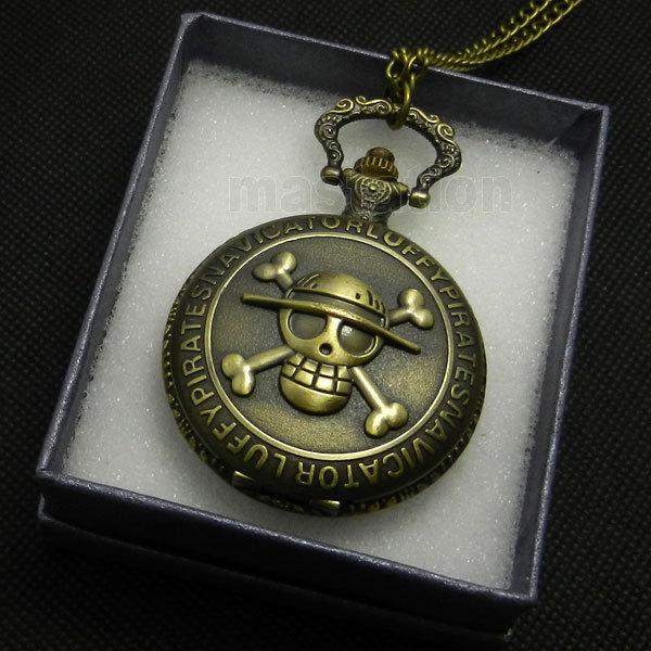 bb0a10d7e Antique Bronze Pirate Skull One Piece Quartz Retro Pocket Necklace Watch  With Gift Box mens