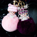 Rhinestone porte clef Monchichi Pompon Key chain Monchichi sleutelhanger Fur Pom Pom keychain Girls Women Bag Charm Key Ring