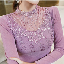 Camisetas Mujer 2018 Autumn The New Lace Blouses Diamonds Embroidery Flower Long Sleeve Blouse Woman Pullover Womens Clothing