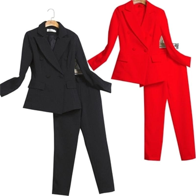 Fashion Leisure suit female red black white New professional suit jacket slim suit pants two suit
