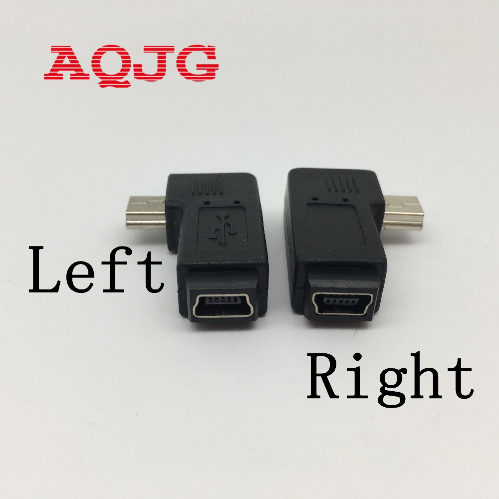 AQJG Mini USB Female to Mini 5Pin Male 90 Degree Angle right Adapter Converter Left Angle MINI usb male to usb female For MP3 20222426 drawbars
