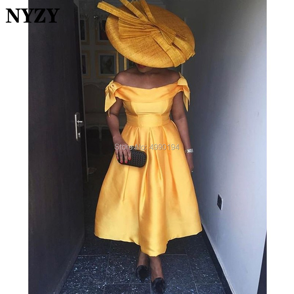 Robe   Cocktail     Dresses   NYZY C152 Elegant Dubai Africa Bow Straps Pocket Gold Satin   Dress   Party Homecoming abendkleider 2019