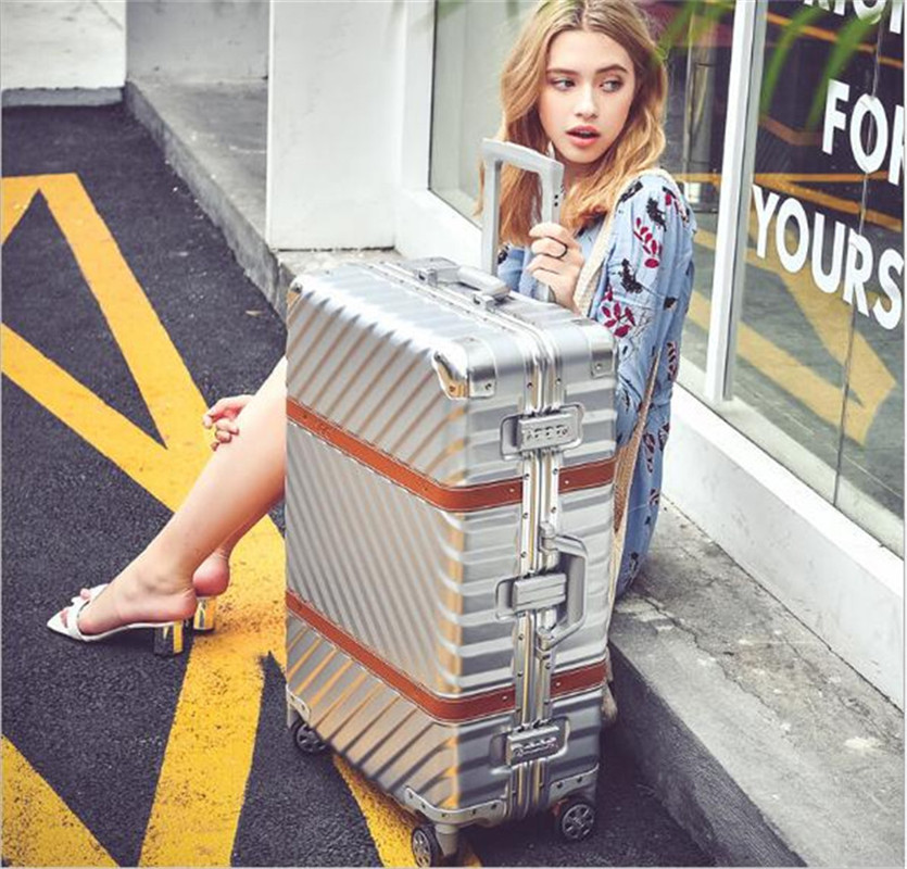 Aluminum Frame ABS Travel Trolley Box Vintage Rolling Luggage Suitcase 20 Carry On 24 26 ...