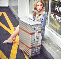 Aluminum Frame ABS Travel Trolley Box Vintage Rolling Luggage Suitcase 20 Carry On 24 26 29 Checked Luggage LX014
