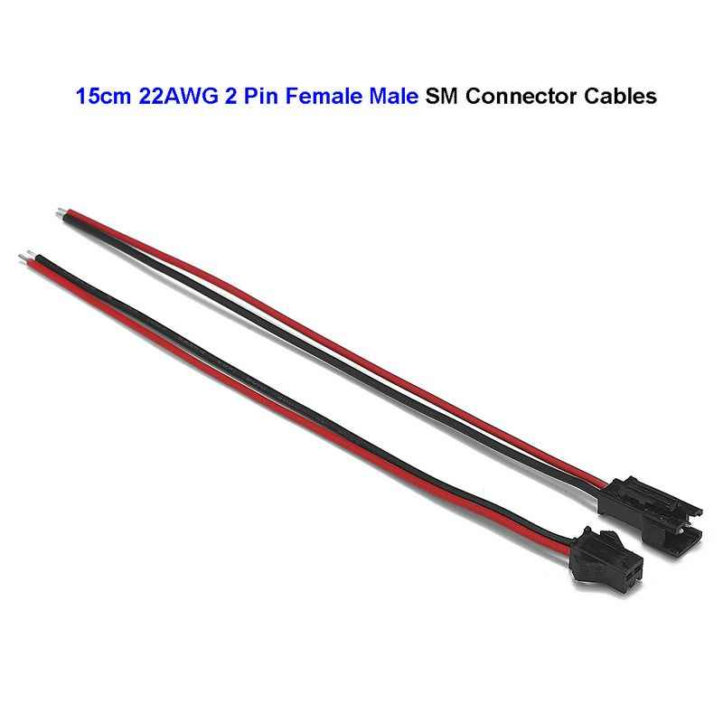 2 Pin SM JST Connector Kabel 22AWG 0.3mm 20awg Extension Elektrische Plug Koper Draden Voor 5050 LED Stijve Strip ni-Cd Batterij