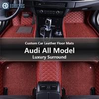 Custom Car Leather Floor Mats for Audi Q7 Q5 Q3 A2 A4 A5 A6 A7 Luxury Surround Wire Floor Mat 2007 2019