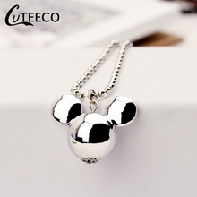CUTEECO 2019 Hot Sale Mickey Long Statement Sweater Chain Bijoux Fashion Wild Silver Plated Pendants Necklaces Jewelry