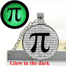Glow in the dark Necklace PI Necklace Math Jewelry Teachers, Science, Mathematics glass art photo necklace Glowing Jewelry