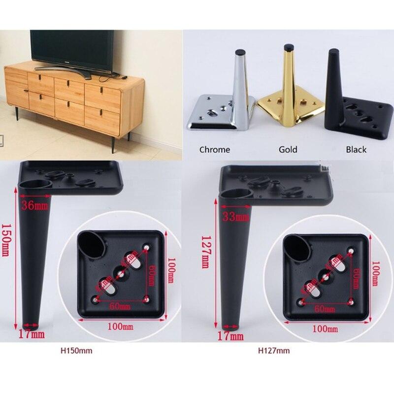 4Pcs/Lot TV Cabinet Sofa Cupboard Cabinet Furniture Leg Legs Feet Screws Cone Design Square Base Gold Chrome Black Taper