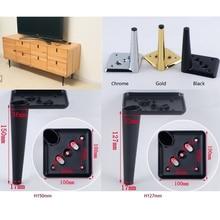 Armario de TV para muebles, patas de pata, tornillos, diseño de cono, Base cuadrada, cónico negro cromado dorado, 4 unids/lote