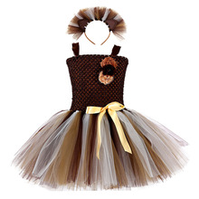 Brown Lion King Christmas Birthday Party Dress for Girls Flower Solid Dress Clothes Baby Kids Cartoon Animal Cosplay Dress Robe