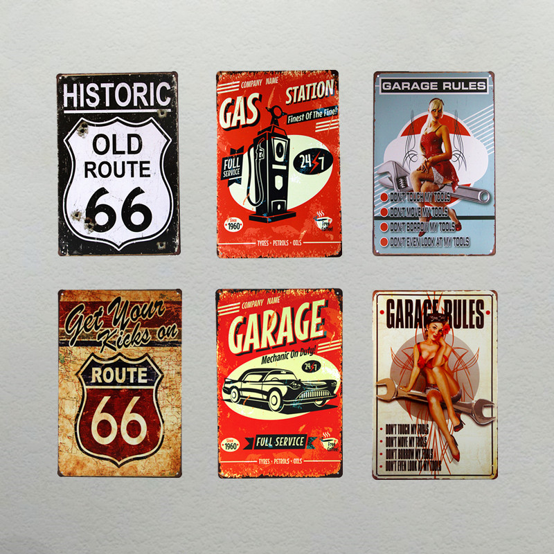 Dl Garage Route66 Woman Metal Signs Vintage Art Wall Decor House