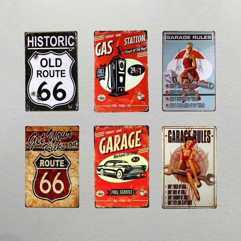 Us 699 Dl Garaż Route66 Kobieta Metalowe Tabliczki Sztuka W Stylu Vintage Dekoracje ścienne Dom Biuro Restauracja Bar Metalowa Dekoracja ścienna