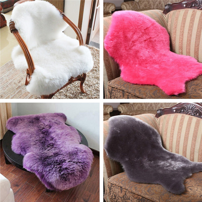 4 Couleurs Poilu Tapis Chaise En Peau De Mouton Couverture Chambre Faux Sige Pad Plaine Lavable Fourrure Moelleux Zone RugsTextile