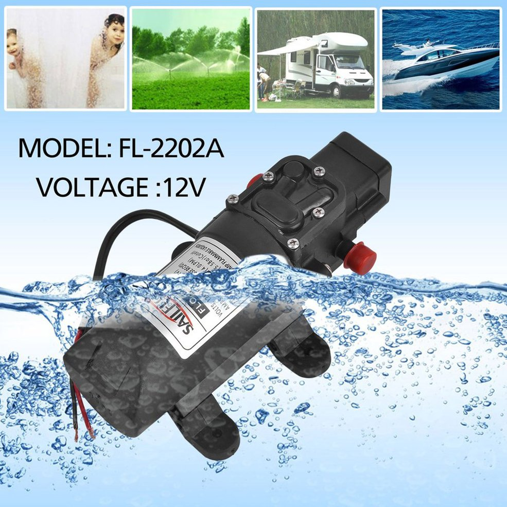 DC 12V Diaphragm Self Priming Pump 1.07 Gallons Per Minute Electric High Pressure Pump 80 PSI Boat Fresh Water Pump 2.6 Amp