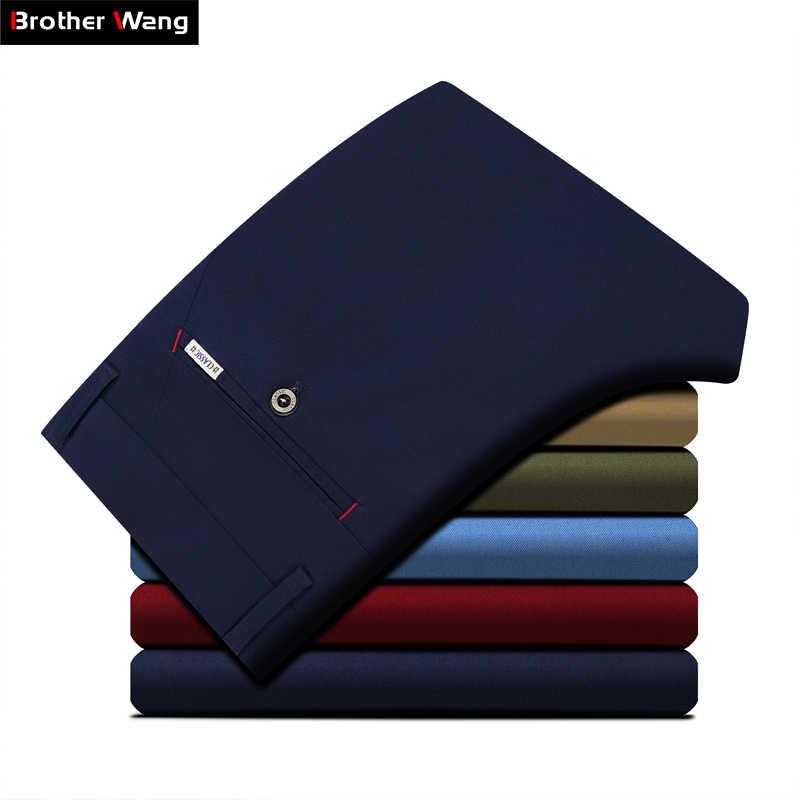 الرجال الملابس 2019 الخريف جديد الرجال تمتد السراويل الكاكي غير رسمية الأعمال موضة بلون سراويل قطنية ماركة الملابس الذكور
