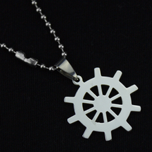 1pcs Mixed Stainless Steel Rudder Pendant Necklace Titanium steering wheel Free Bead Chain