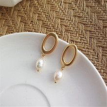 Matt silver new simple geometric earrings grinding elliptic geometry of pearl earrings Delicate women fashion earrings wholesale pair of delicate geometric faux gem earrings for women