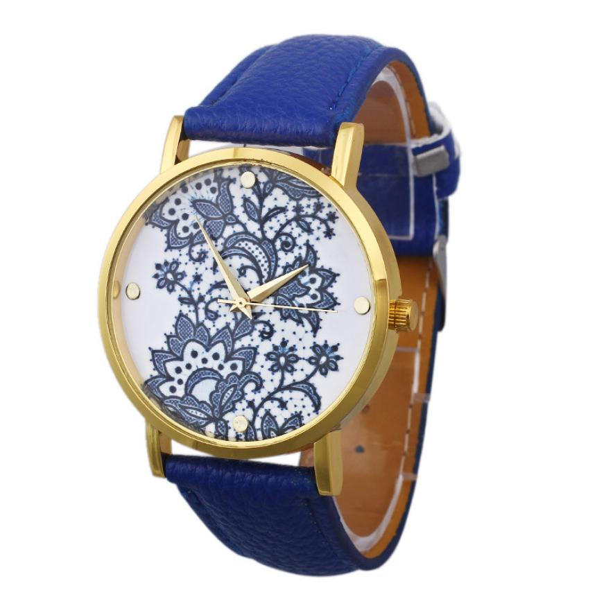 Ladies watches watches women Wrist Watch Women Round Lace Printed Faux Leather women watch luxury