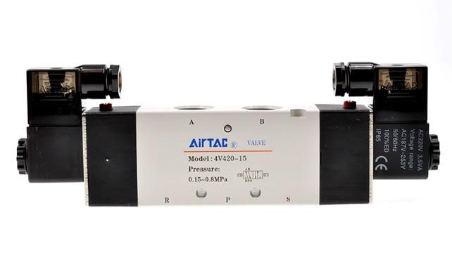 все цены на  AirTac new original authentic solenoid valve 4V420-15 AC220V  онлайн