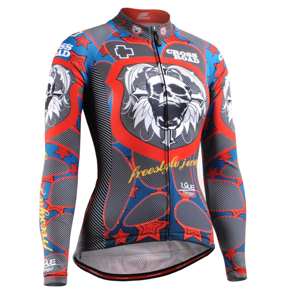 Life on track Skull Graphic Women Long Sleeves font b Cycling b font Jersey 4 Seasons