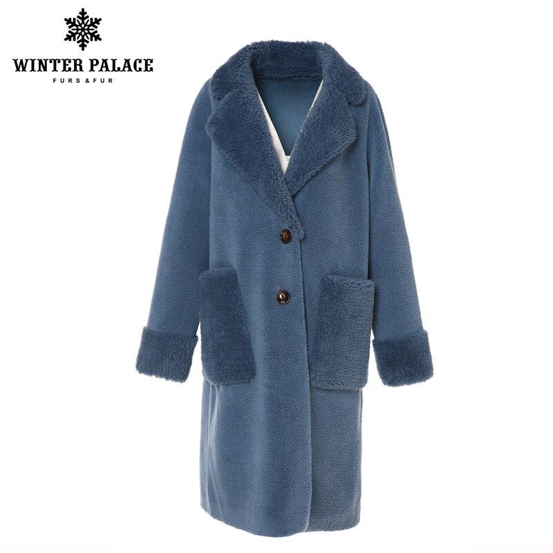 Pałac zimowy 2019 kobiet nowy płaszcz z wełny długi garnitur kołnierz z 30% wełna zima ciepły klasyczny styl futra płaszcz z wełny mieszanka wielu C w Prawdziwe futro od Odzież damska na  Grupa 1
