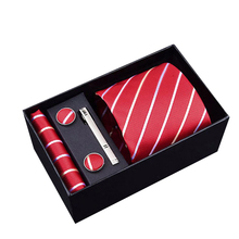 Hot Selling Wholesale purple striped Tie Hanky Cufflinks&clip Sets Mens Silk Ties for Formal Wedding Party gift box packing