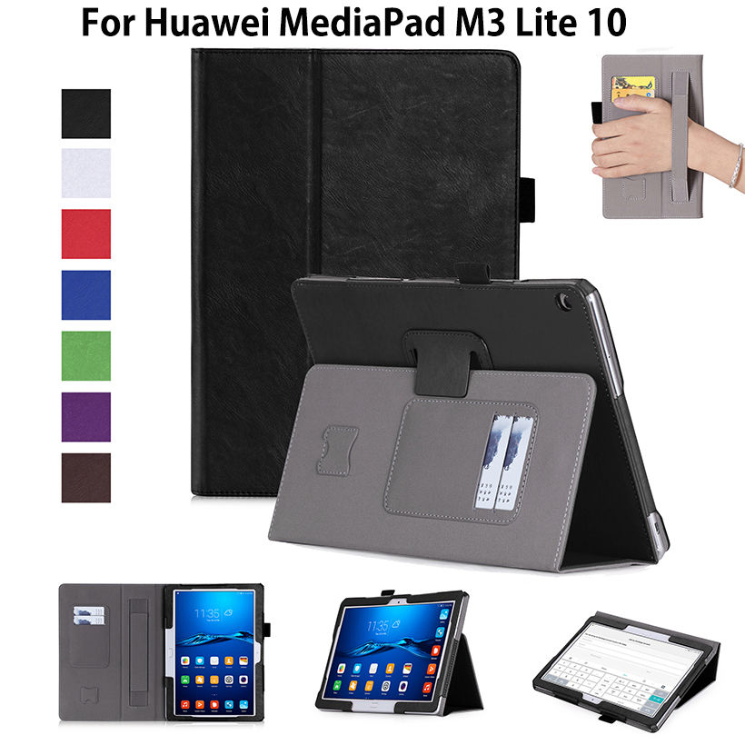 Luxury Cover Case For Huawei MediaPad M3 Lite 10 BAH-W09 BAH-AL00 10.1 Case Funda Tablet Hand Holder Flip Stand PU Leather Skin coque smart cover colorful painting pu leather stand case for huawei mediapad m3 lite 8 8 0 inch cpn w09 cpn al00 tablet