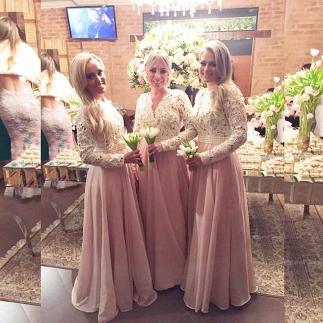 Beautiful Pearls Lace Chiffon Bridesmaid Dresses Pretty Light Pink Blush Dress Long Sleeve