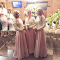 Belas Pérolas de Renda Chiffon Vestidos de Dama de honra Bonita Rosa Claro/Blush Da Dama de Honra Vestido de Manga Longa Vestidos de Dama de honra B104