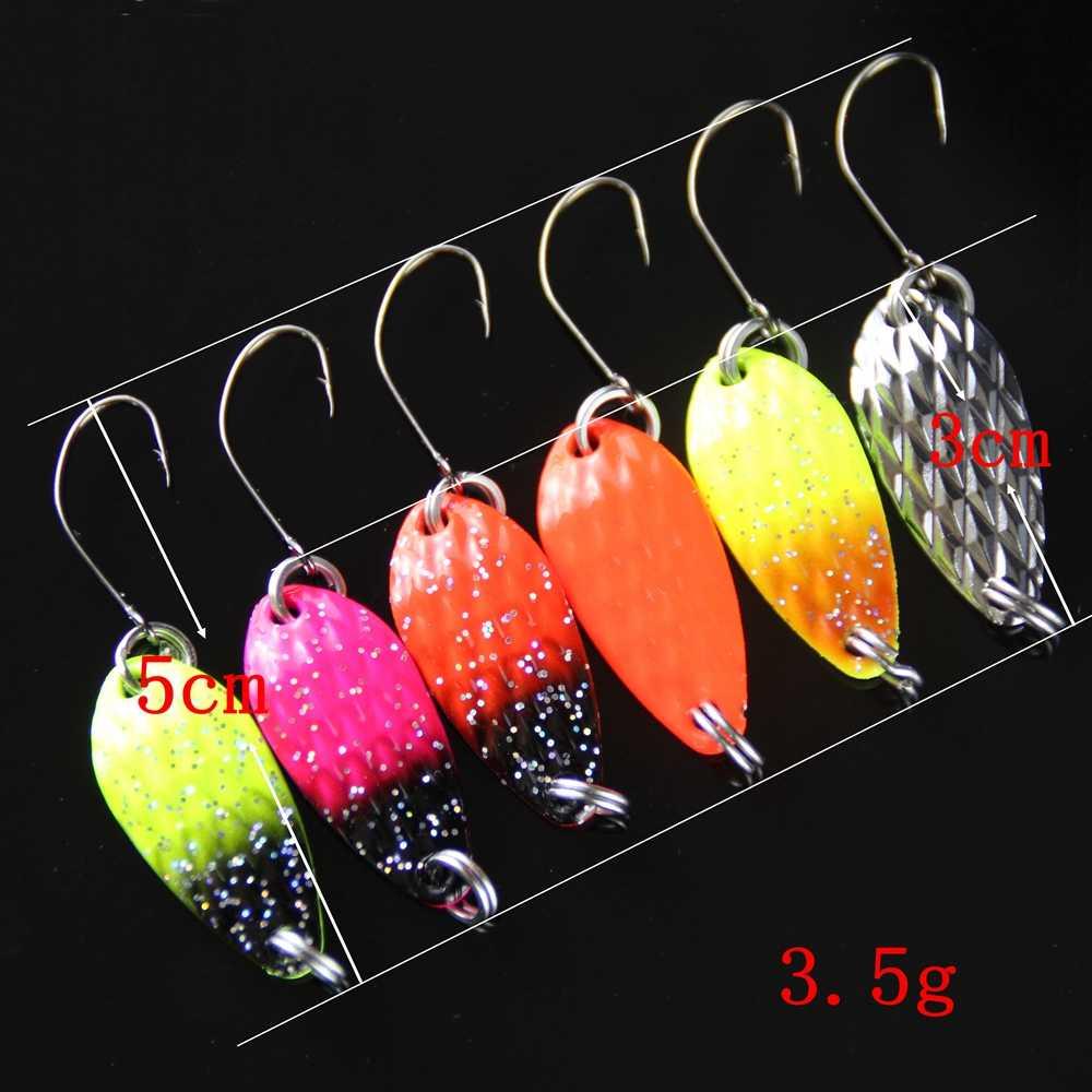 8 Uds cuchara de señuelo de Pesca 3cm 3,5g duro cebo anzuelos de metal wobbler artificial ISCA Micro trucha cuchara cebo de Pesca