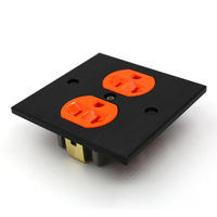 Free shipping one piece US AC power Receptacles wall outlet audio grade copper made socket Duplex Plate 86mm*86mm orange