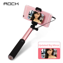 ROCK Portable Extendable Selfie Stick Holder with Wire Control & Mirror For iPhone 6S 5S for Samsung Universal Android Phones