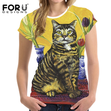 FORUDESIGNS Harajuku Cat t-shirt Women Colorful Vogue Tshirt for Womens Oil Painting Printing Femininas T shirt Girls Sister