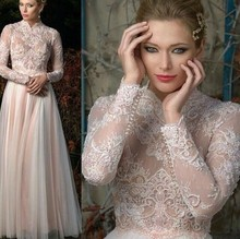 New Arrival Designer A Line Lace Applique Pearls Beading Long Sleeves Tulle High Neck Muslim Wedding Dresses Hijab